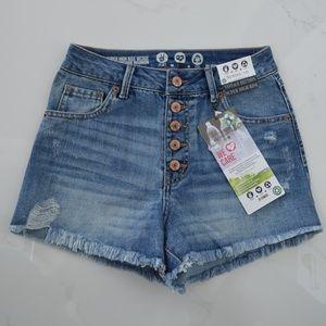 Rewashed jeans denim frayed button down hi waist 1